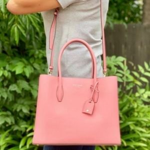 {KateSpade} Pink Leather Medium Crossbody Satchel
